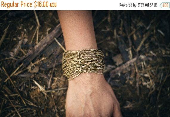 Tribal Beaded Bracelet  by PrimitiveTribalCraft on Etsy