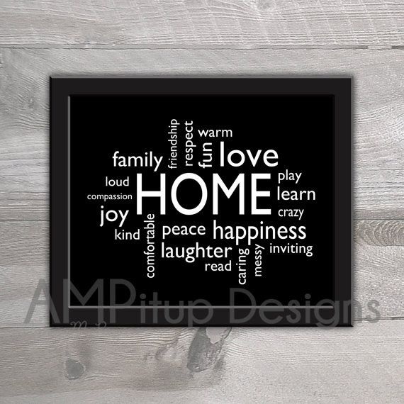 Printable Home Decor Home Word Cloud Printable by AMPitupdesigns