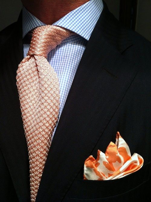 ** RL Polo blue herringbone suit, MTM microcheck shirt Van Laack fitted by Lowet Tailors, knitted tie Tom Ford and P.J...