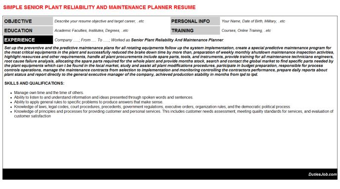 Senior Plant Reliability And Maintenance Planner Resume Sample