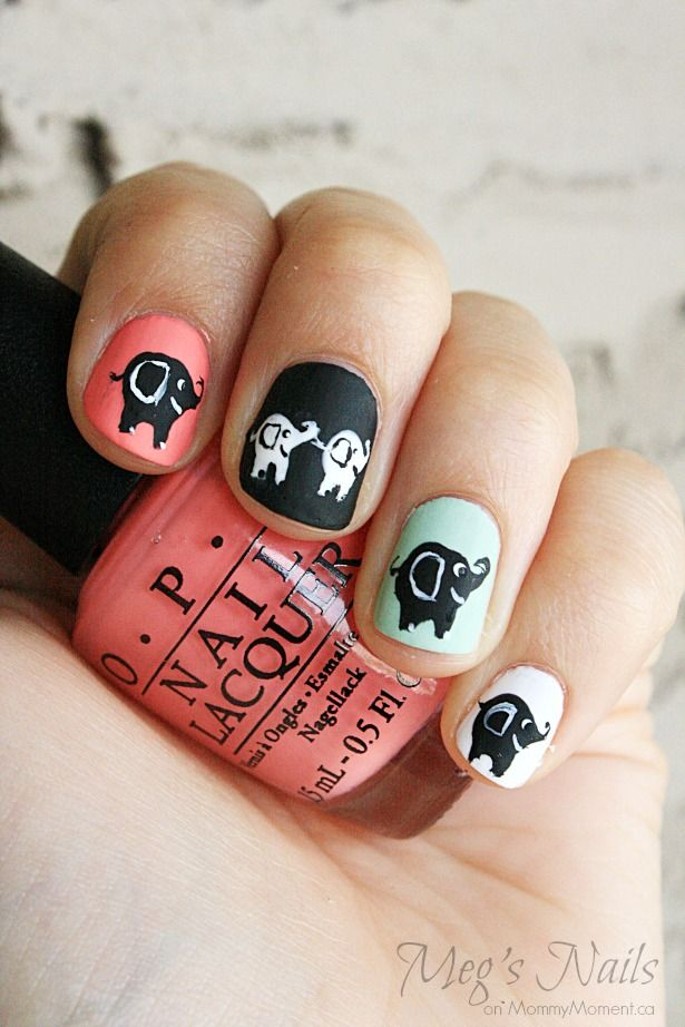 DIY Elephant Nail Art