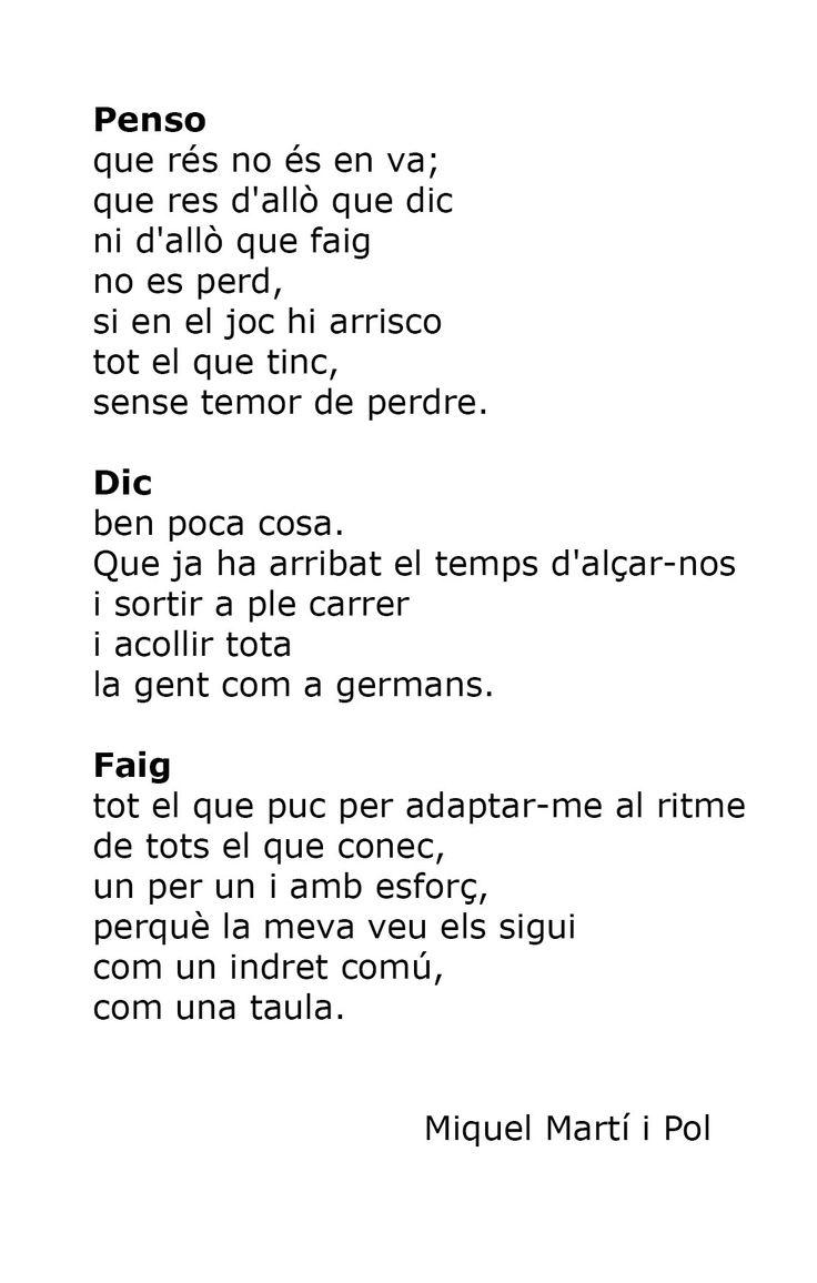 Très poèmes de Miquel Martí i Pol - Penso, Dic, Faig -