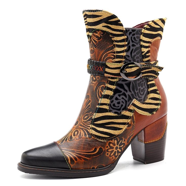 US$82.93 - SOCOFY Handmade Cow Leather Splicing Retro Flower Pattern Buckle Stitching Zipper Boots
