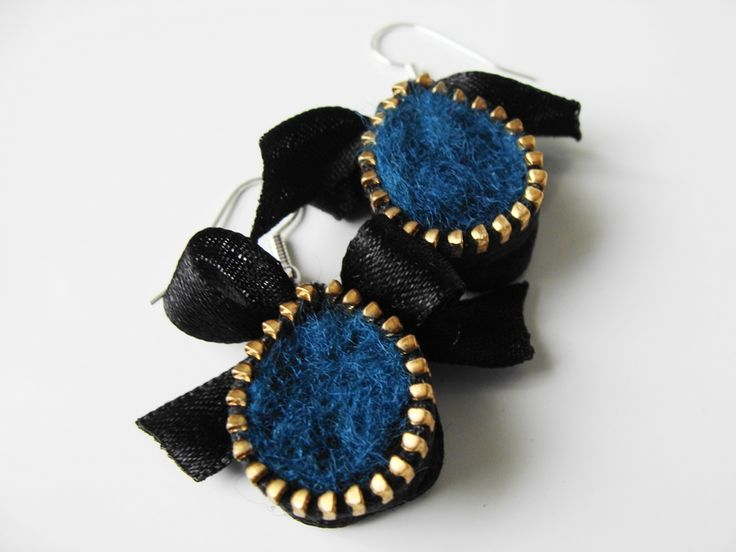 Felt Earrings, Bow Earrings, Zipper Earrings, Teal Earrings, Lolita, Fashion Earrings | Felt