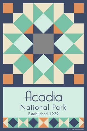 Olde America Antiques | Quilt Blocks | National Parks | Bozeman Montana : Acadia National Park - Acadia National Park Quilt Block
