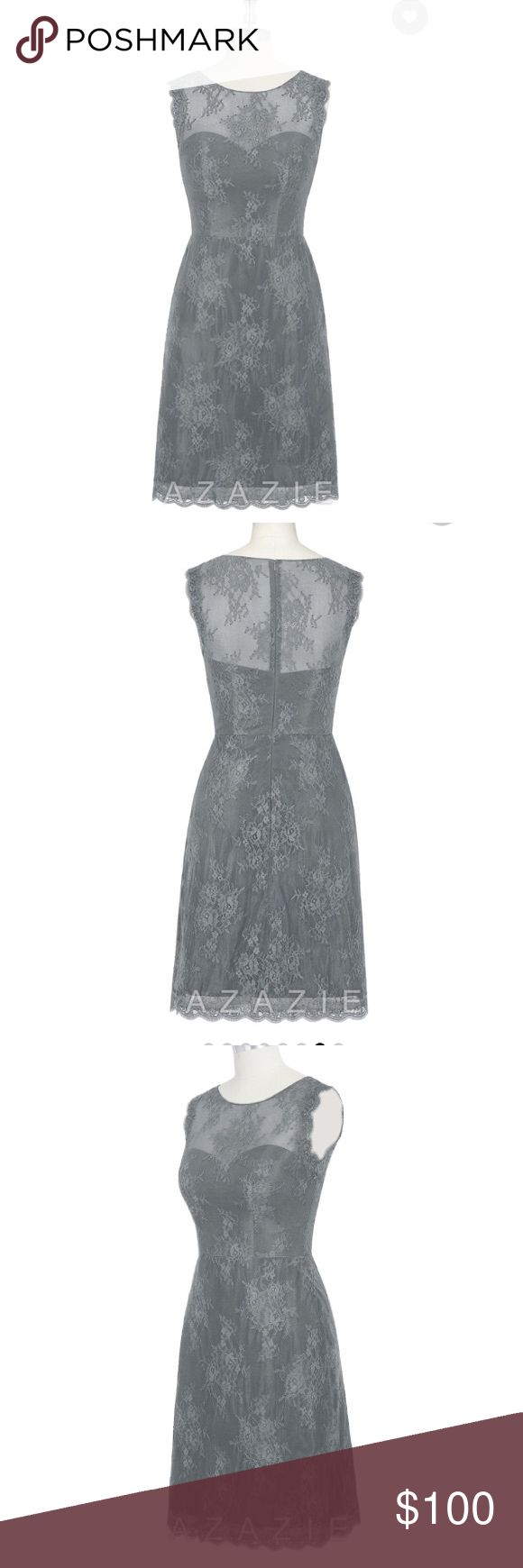Azazie Zaria Steel Grey Bridesmaid Dress Lace, knee length column cut dress with scoop neckline. Steel grey color. Size 6. Perfect bridesmaid dress (fits the grey/pewter color scheme), and brand new, never worn. Azazie Inc Dresses Wedding