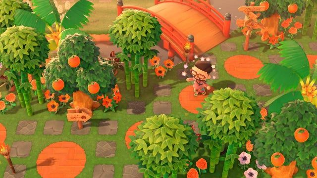 Wanted That Jungle Vibe I Found It By Mixing Coconut Bamboo Fruit Trees And Flowers With Potted Plants Like An Animal Crossing Jungle Vibes Garden Animals