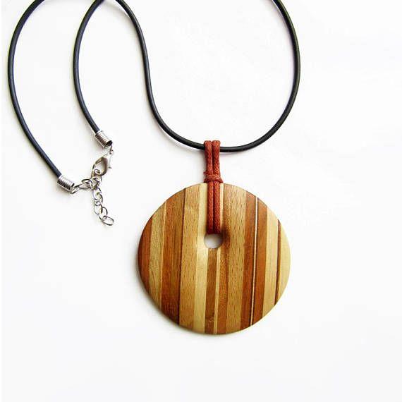 Wooden necklace cherry wood necklace cherry wood pendant