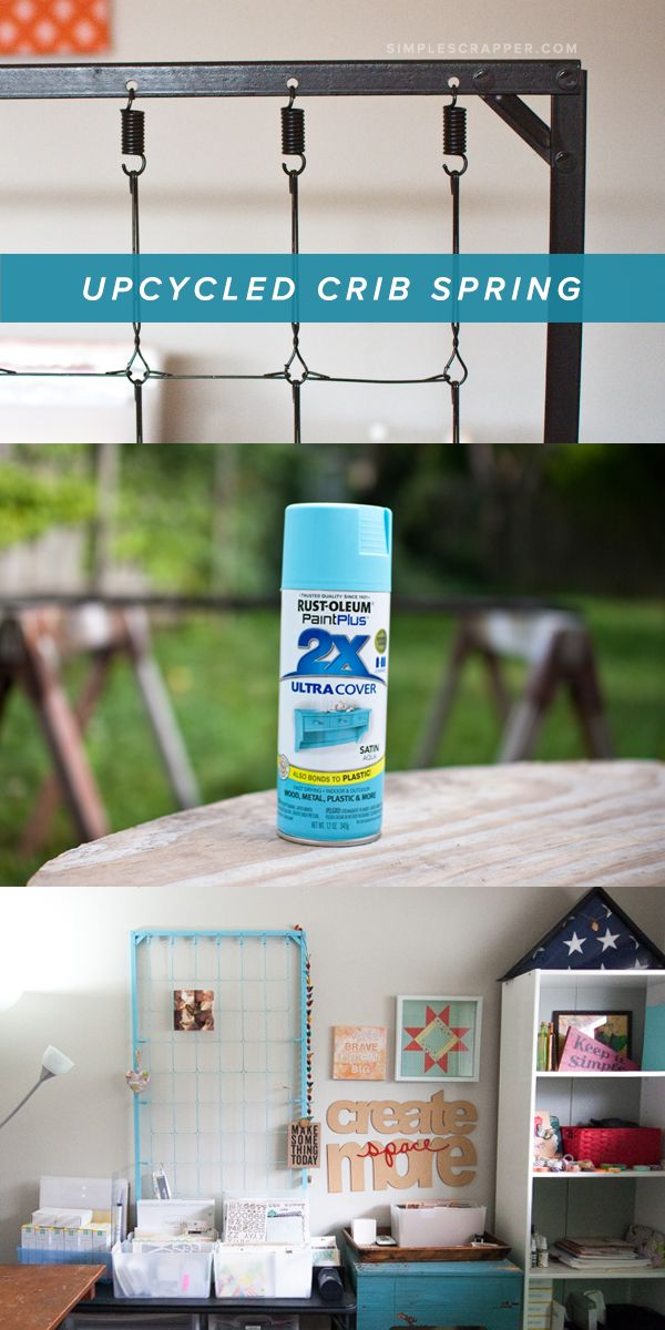 Upcycling a crib spring for creative work space For less than $5 you can re-purpose an infant crib spring into a display for your home.