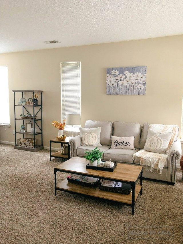Fall Home Tour Family Room Blogs By Aria Beige Carpet Living Room Fall Living Room Decor Tan Walls Living Room