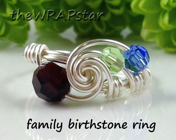 @teacher1376  Family Ring Family Birthstone Ring Family Jewelry by theWRAPstar
