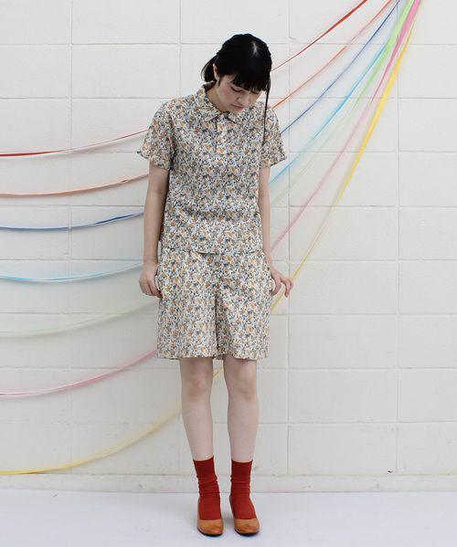 AMBIDEX Store 【予約販売】○線画小花プリント 半袖プルオーバーシャツ(F イエロー): l'atelier du savon
