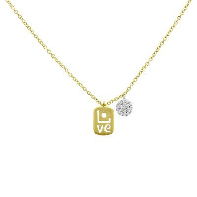 """Petite """"LOVE"""" Gold Tag Diamond Necklace by Meira T - Petite and full of personality, this funky love pendant is a must have. #meiraT #love #diamondnecklace #pendant #diamonds #style #fashion #necklaces #fashion #style"""