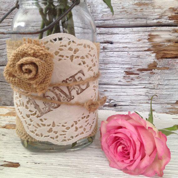 Rustic Wedding Decor for 5 Jars, Rustic Doily Centerpiece, Love Burlap Mason Jar Centerpiece, DIY Vintage Wedding Decor on Etsy, $12.50