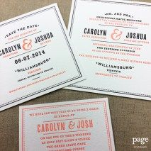 Modern Letterpress Wedding Invitation suite, in salmon and navy ink! Created with rock paper scissors. #prettypaper