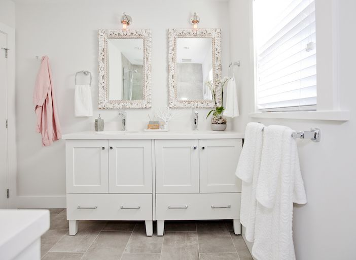 Love It or List It Vancouver  Lyanne  amp  Chris   updated bathroom with his and her vanities