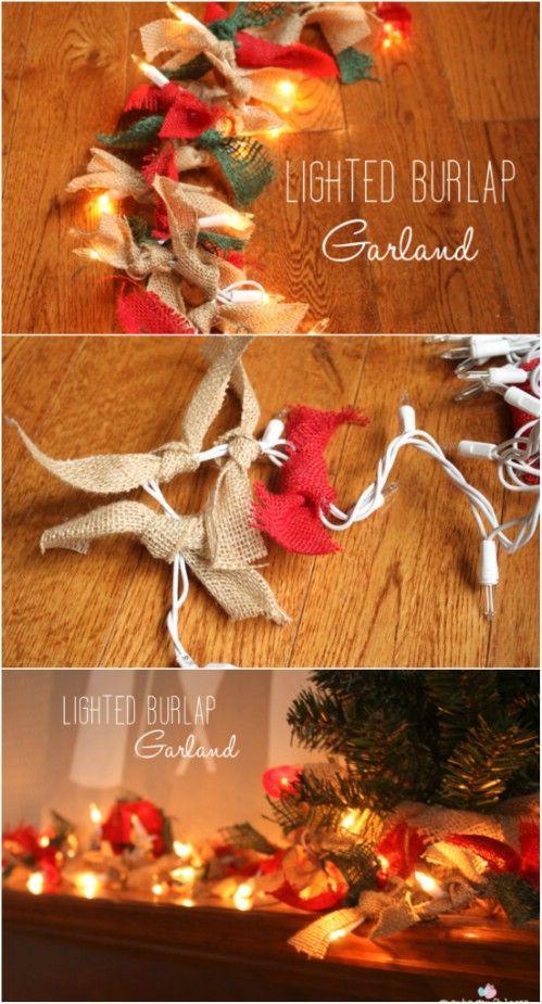 30 Magically Festive String and Fairy Light DIYs for Christmas Decorating -... Burlap garland ...