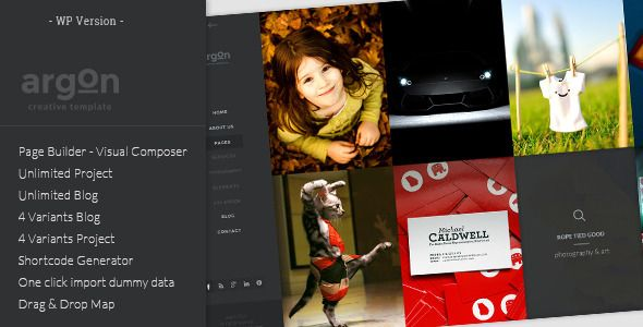 Argon - Full Screen Portfolio & Blog WP Theme   http://themeforest.net/item/argon-full-screen-portfolio-blog-wp-theme/7213046?ref=damiamio       Argon is a unique and easy-to-use Photography WordPress theme built with the professional photographer and their needs as the main 'focal point'. It comes with an intuitive designed interface, carefully crafted to ease the way to showcase your unforgettable photos. It has Retina Ready Icons, 100% Ultra Responsive, Well Documented, and it is built…