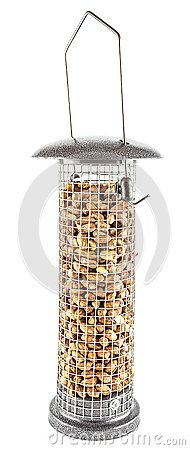 Metal and mesh hanging birdfeeder filled with peanuts, isolated on white.