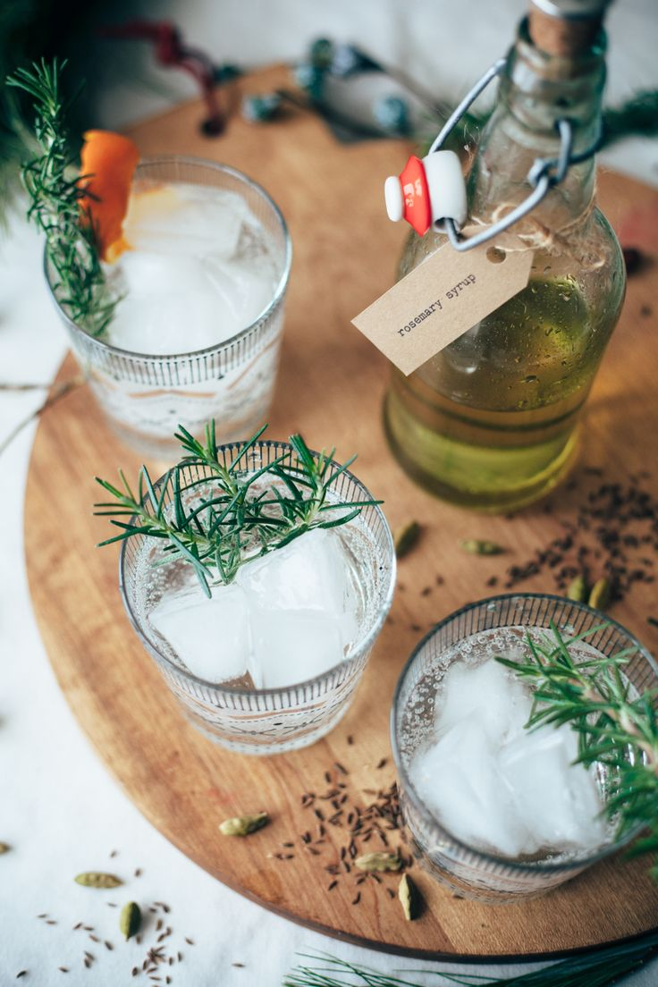 rosemary simple syrup cocktail (could be made into a delicious mocktail with a few easy subs!) - perfect for holiday entertaining. || by molly yeh
