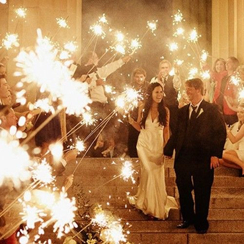 36 Inch Wedding Sparklers!! Unlike regular sparklers, these babies last for 4 minutes and are smokeless too! $59 for a box of 48.