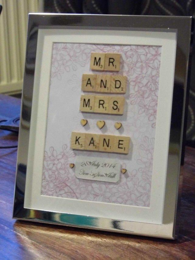 Vintage Bespoke Scrabble Art -Wedding Christening Gift- Name On A Frame Original £25.00