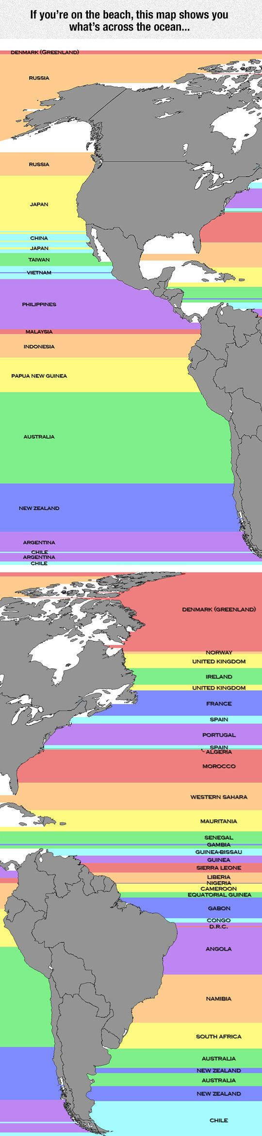 If You're On The Beach, This Shows You What's Across The Ocean