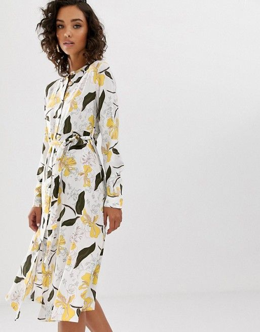 9ee400f196f Na-kd floral print belted midi dress in white in 2019 | Фасоны | Tux ...