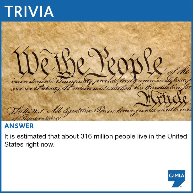 The trivia question was: When the Declaration of Independence was signed in July 1776, there were about 2.5 million people living in the country. The population has grown a lot since then. How many people do you think live in the United States today?