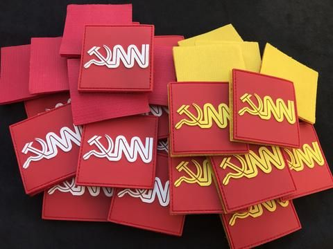 """Communist New Network CNN pvc patch $15 You're Fake News - Fuck your fake news.... Exclusive range of patches. Premium 2.5""""sq 3D PVC with limited edition Red or Yellow Velcro backing."""