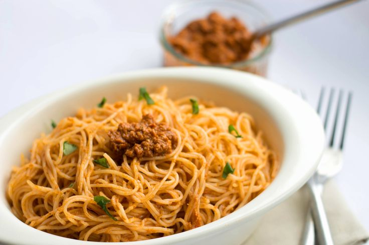 Angel Hair with Red Pesto Sauce