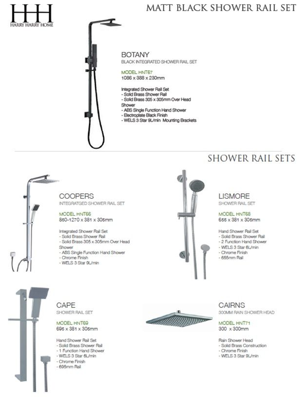 Black and silver shower rail sets available, see in store for more info.