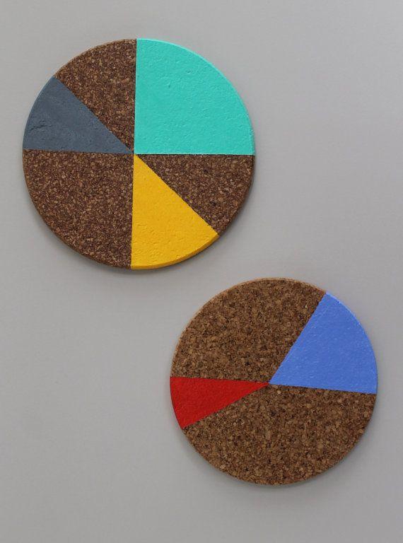 Colorblock Cork Trivets by nimwitstudio on Etsy