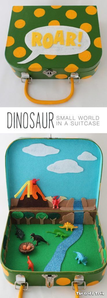 Dinosaur small world in a suitcase. Kids love this for pretend play!