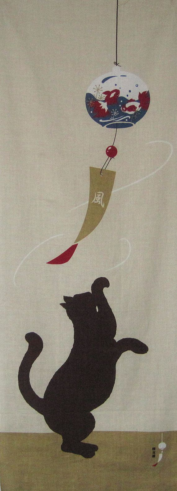 "Cat tenugui, ""nice!""A Tenugui (手拭い) is a thin Japanese hand towel made of cotton."