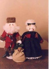 Pattern for Santa and Mrs. Santa cloth dolls.  http://barbspencerdolls.com/patterns/ Lots more patterns -- 16 pages full of doll, animal, holiday, doll and teddy bear clothing, teddy bears.... http://barbspencerdolls.com/patterns/