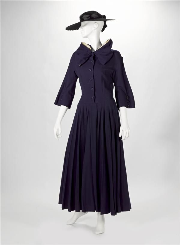 Dress in dark blue wool, designed by Jacques Fath, 1949