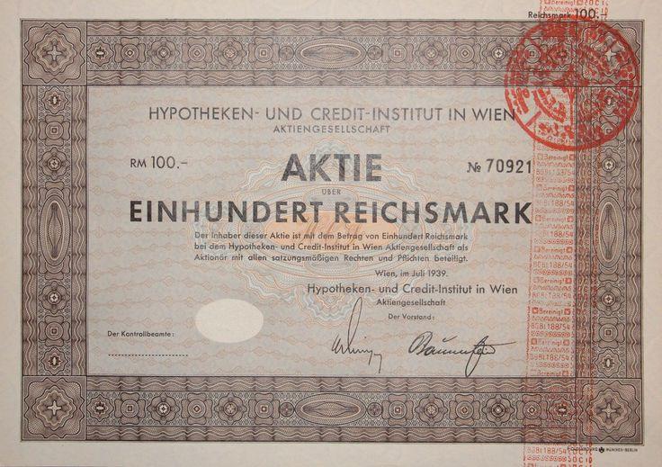 """RAR: Druckfrisch-Aktie """"HYPOTHEKEN- UND CREDIT-INSTITUT WIEN"""". 100 RM, Wien 1939"""