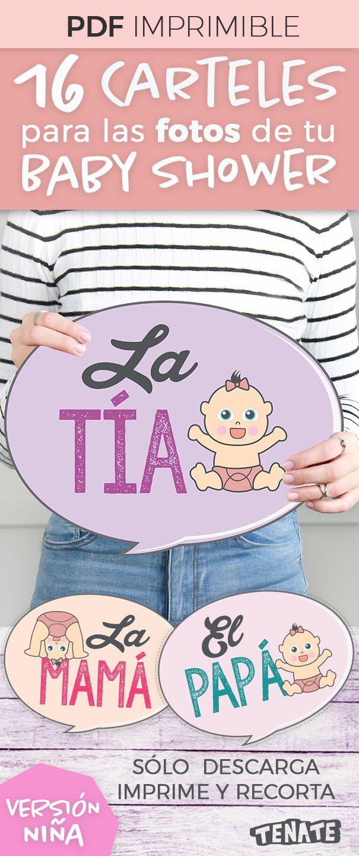 Baby Shower de Niña Carteles / banners / letreros para fotos de Baby Shower. Son 16 carteles. ¡Con estos divertidos carteles involucra a la familia del bebé en tu Baby Shower! Después usa las fotos para crear un bonito álbum de recuerdos para el bebé.