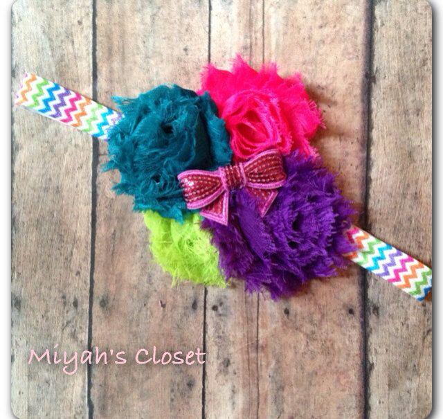 Neon Headband Neon Chevron Headband Shabby Chic by MiyahsCloset, $9.25