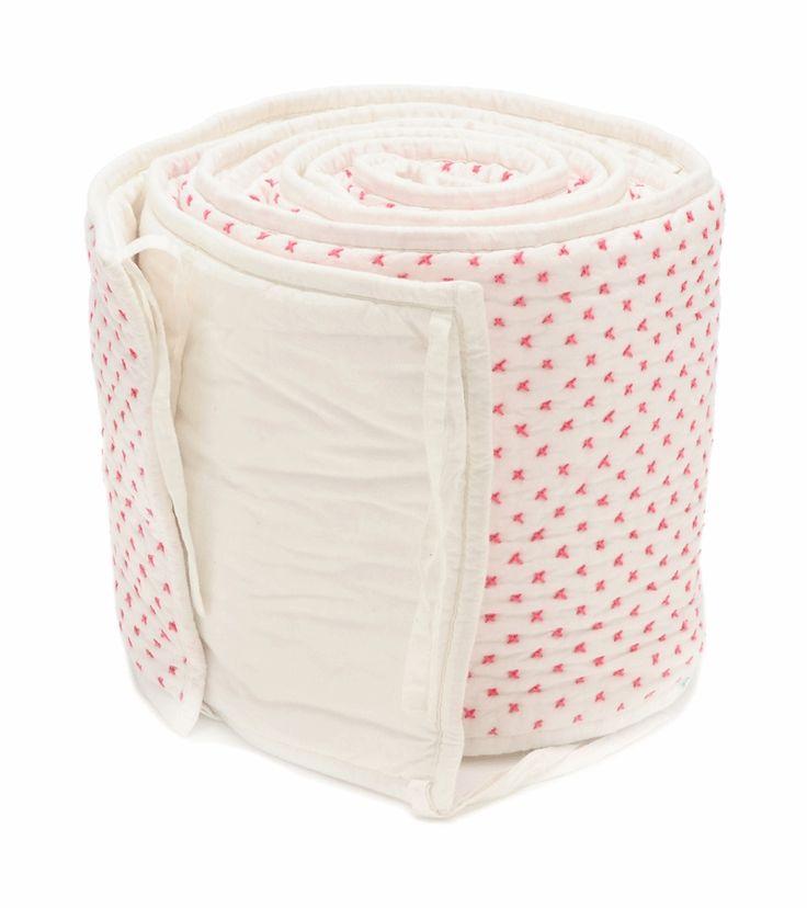 Auggie Cross-Stitch Crib Bumper in Pink