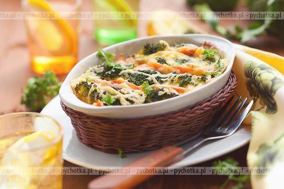 Brokuły z ziemniakami i kukurydzą zapiekane