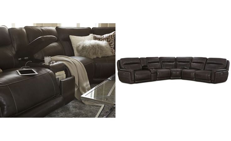 Summerbridge 6-Pc. Leather Sectional with 3 Power Reclining Chairs, Power Headrests, and Console with USB Power Outlet - Sectional Sofas - Furniture - Macy's