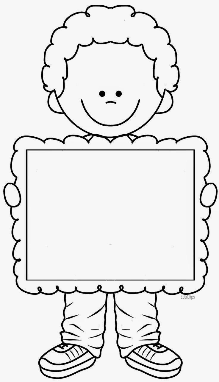 Kleurplaat van een jongen met een fotolijst.