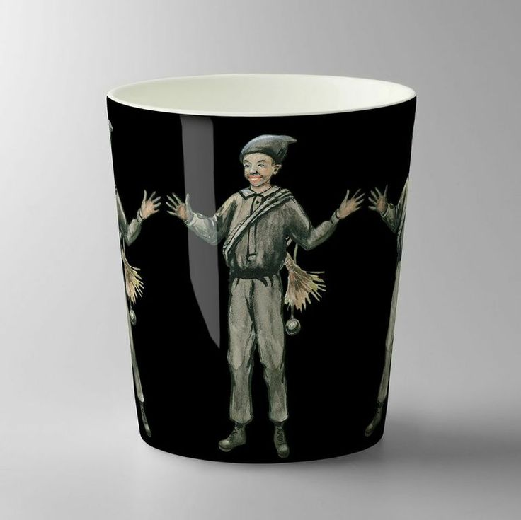 Chimney sweep / Sotare mug. Pattern designed by Catharina Kippel from an illustration by Elsa Beskow for Design House Stockholm.