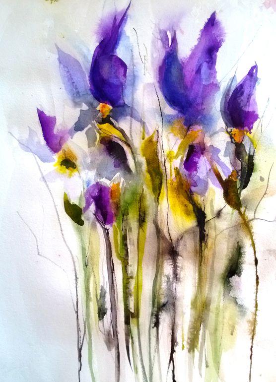 "Saatchi Online Artist: Karin Johannesson; Watercolor 2013 Painting ""Fallen Irises"""