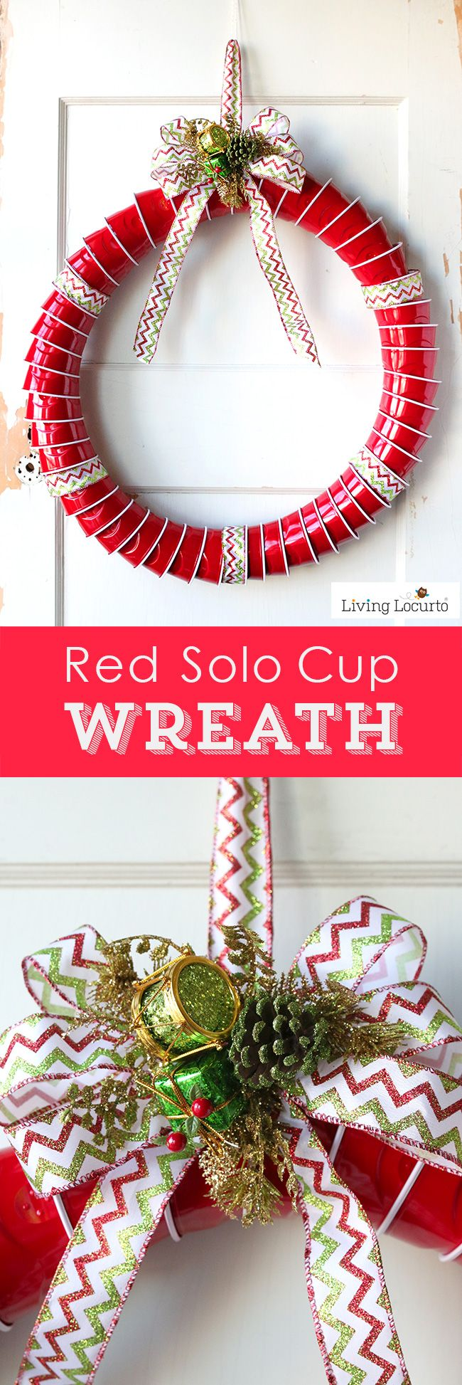 How to make a Red Solo Cup Christmas Wreath. Fun DIY idea for a Very Tacky Christmas Party or Ugly Christmas Sweater Party.