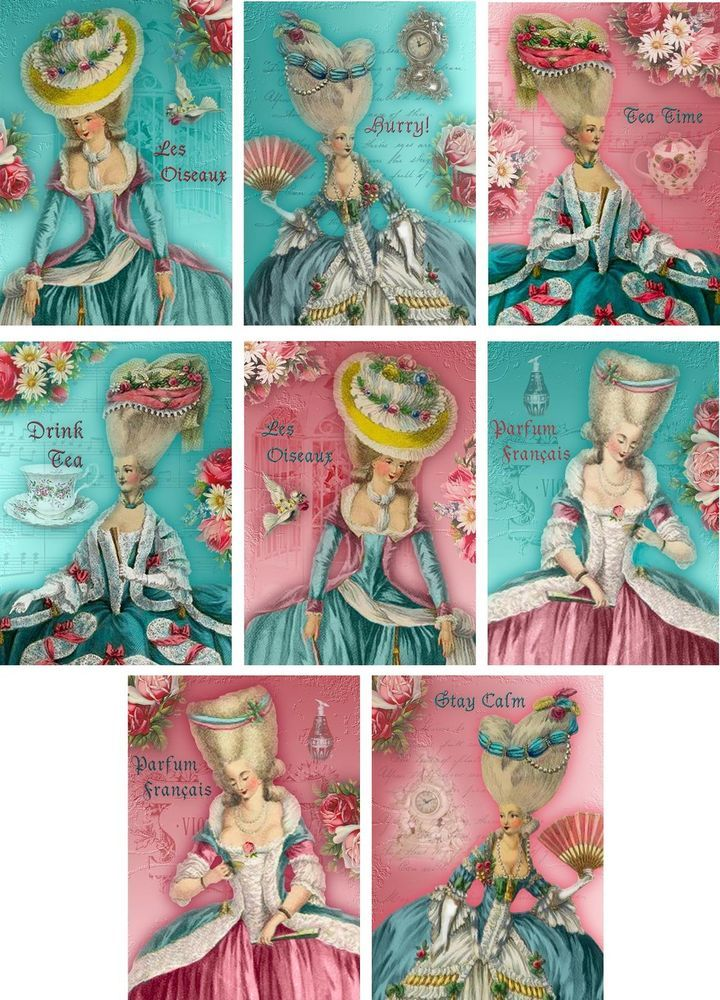 Vintage Inspired Marie Antoinette aqua pink small note cards ATC set of 8 #handmade #AnyOccasion