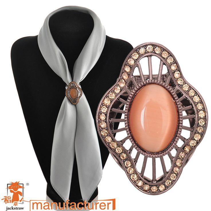 2016 Fashion rhinestone Silk scarf clip long elegant women's corsage vintage opal brooch buckle birthday gift