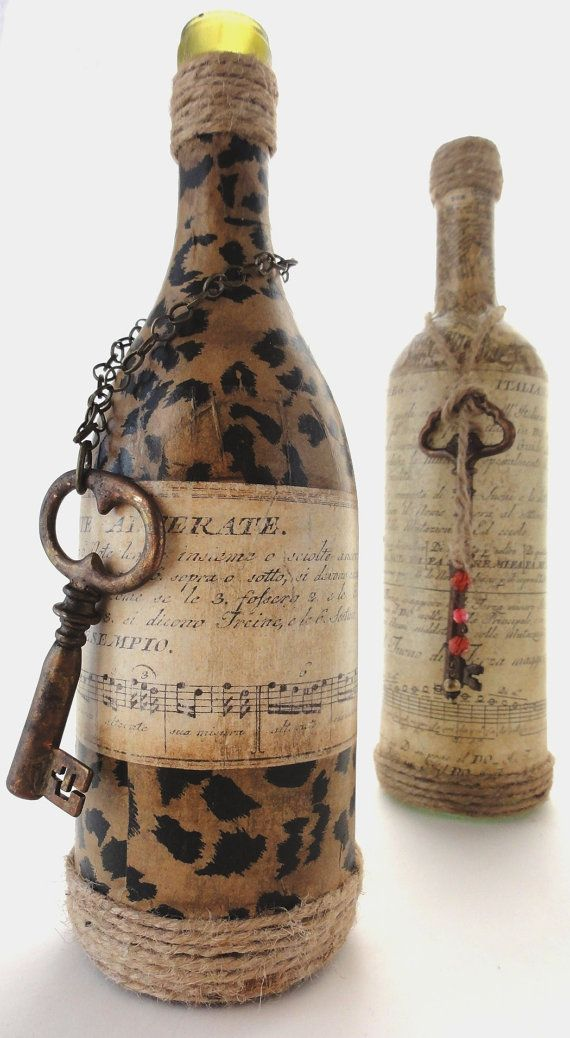 Vintage Bottle with Leopard print and old Music paper